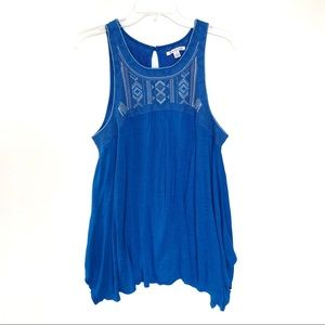AEO Blue Embroidered Neckline Flowy Tank Top L